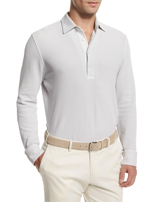 Lyst Loro Piana Huck Lace Long Sleeve Polo Shirt In Gray For Men