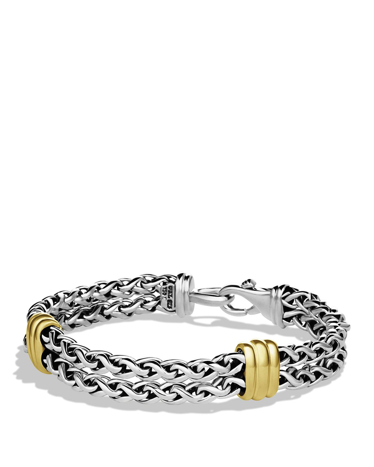 David Yurman Charm Bracelet: David Yurman Two-station Chain Bracelet With Gold