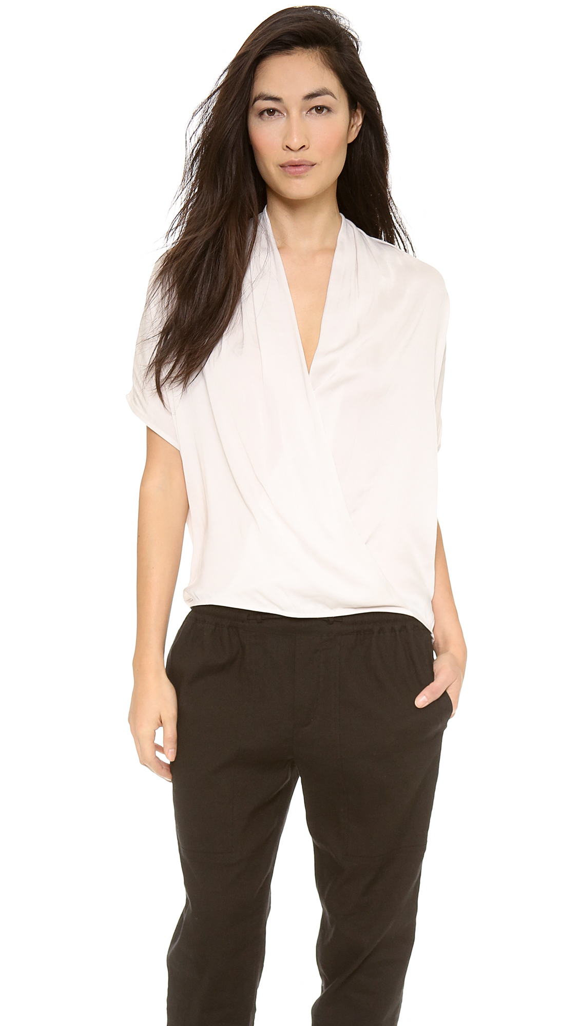 Vince Short Sleeve Wrap Blouse - Beige in Natural | Lyst