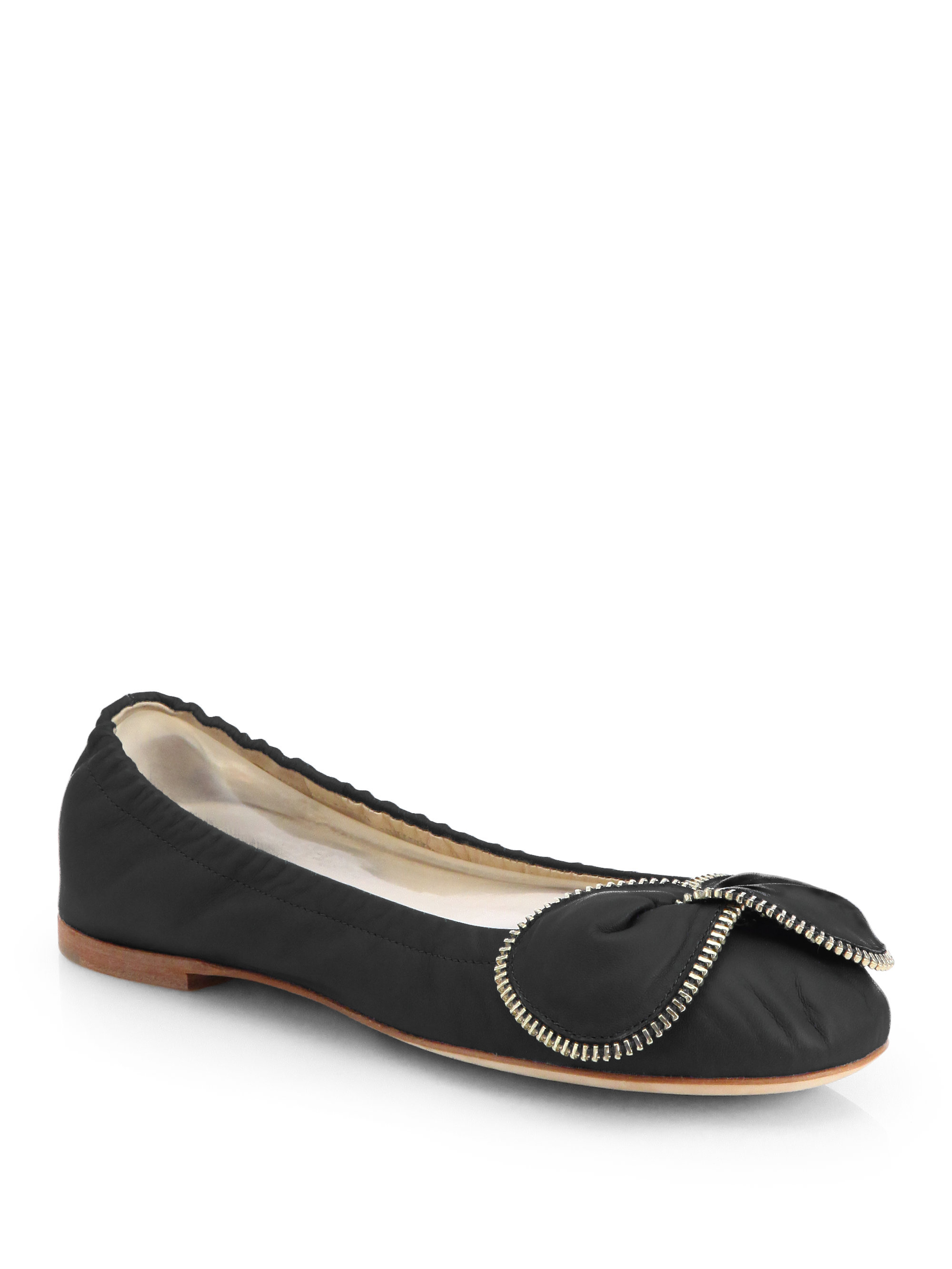 see by chlo aria leather bowtie ballerina flats in black. Black Bedroom Furniture Sets. Home Design Ideas