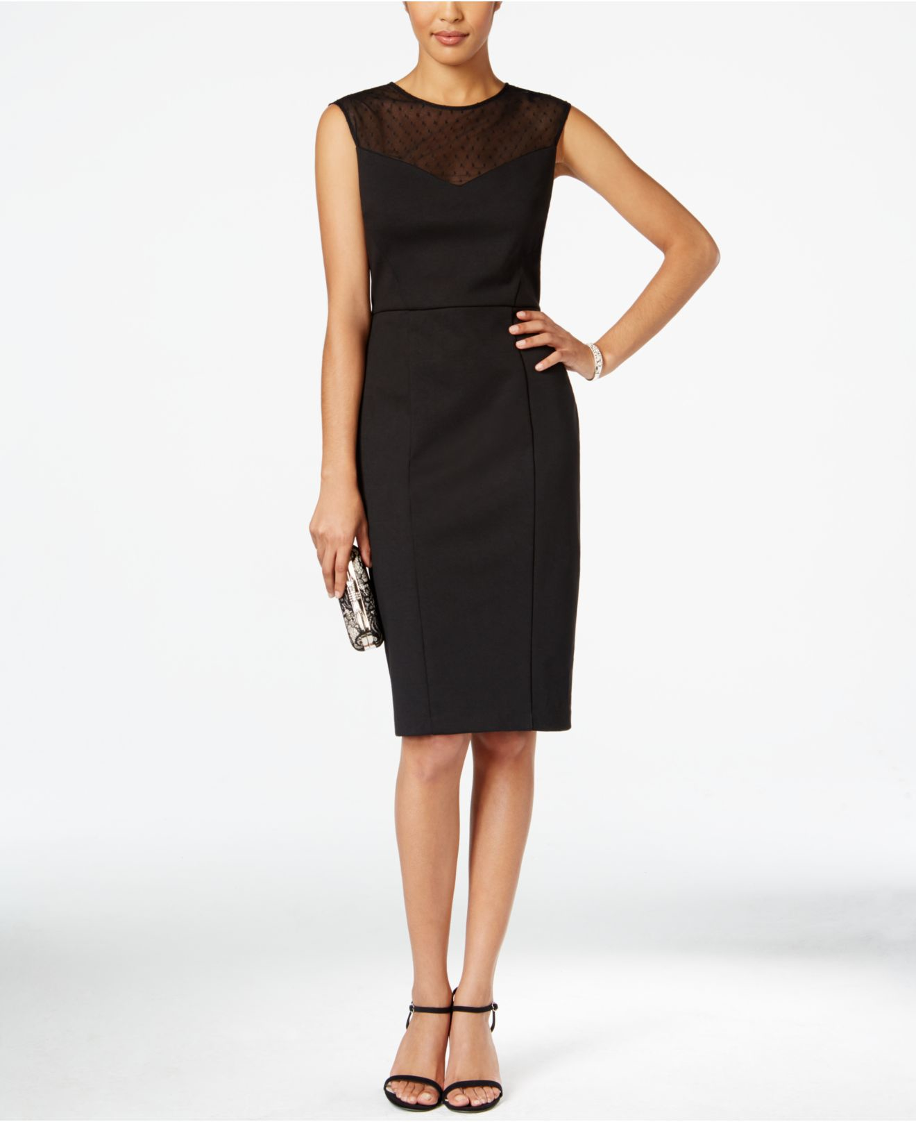 Lyst - Nine West Illusion Sheath Dress in Black a821721e2