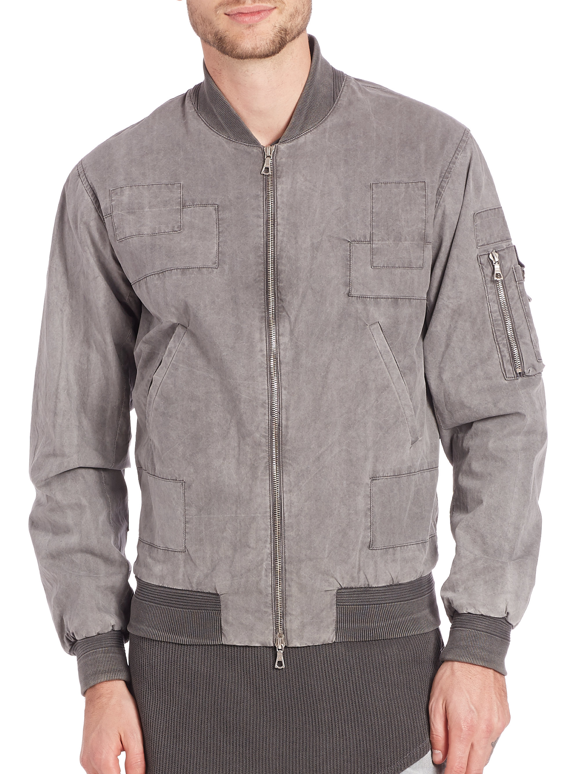 John elliott Paneled Flight Jacket in Gray for Men | Lyst