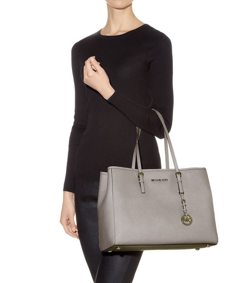 c65018274c40 MICHAEL Michael Kors Large Jet Set Travel East West Tote in Gray - Lyst