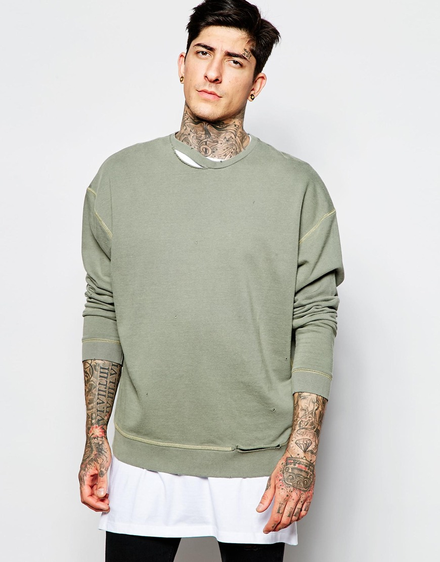 Asos Oversized Sweatshirt With Rip Neck In Green in Natural for ...