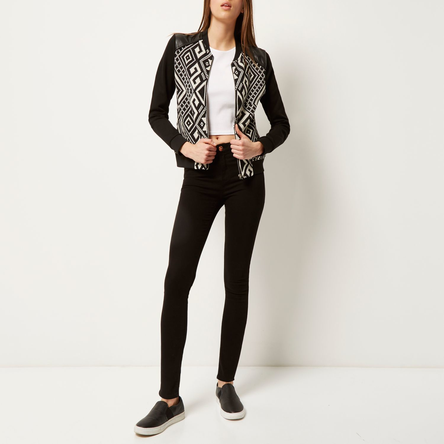 Black Quilted Bomber Jacket River Island
