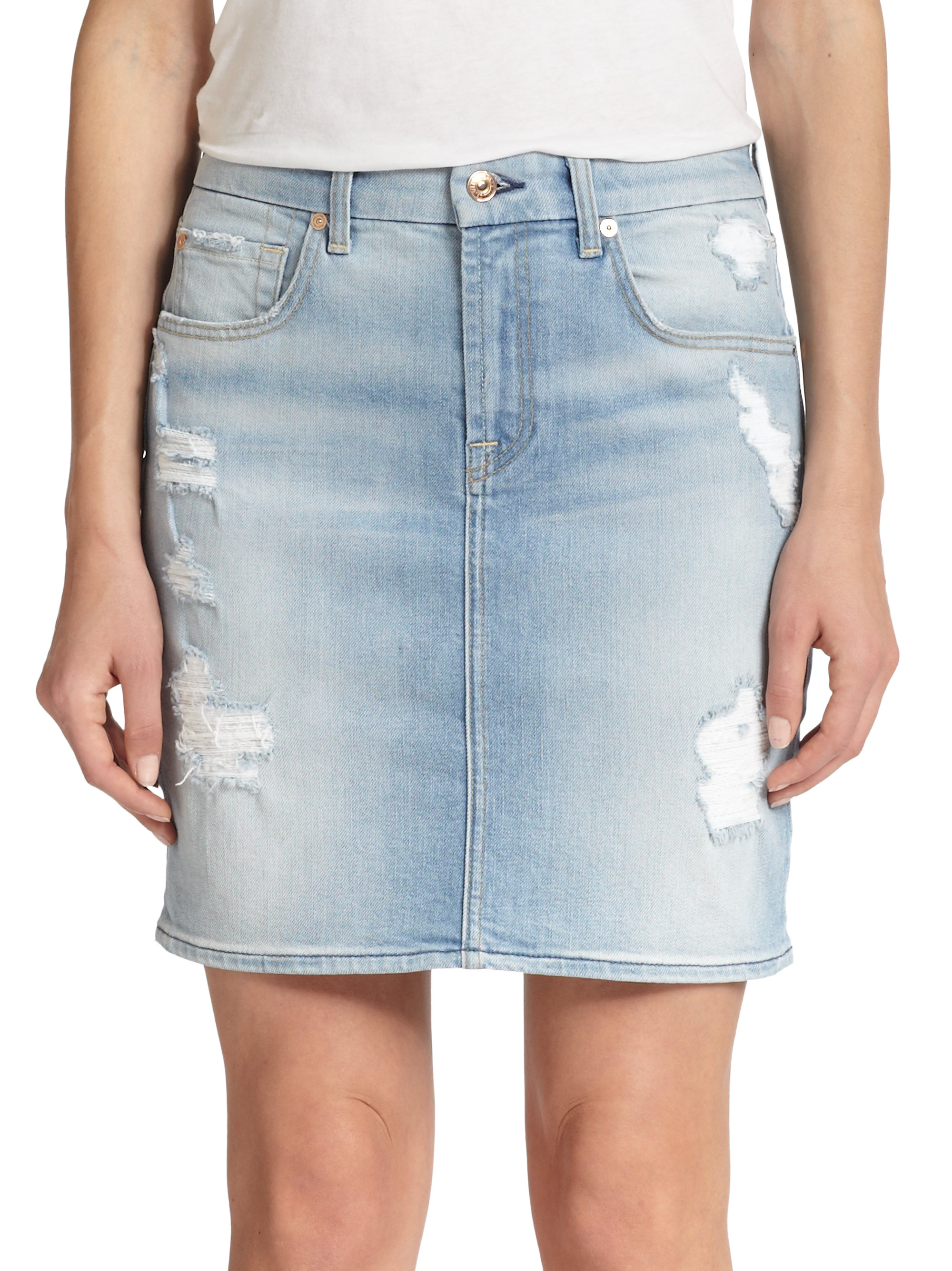 7 for all mankind distressed denim skirt in blue lyst