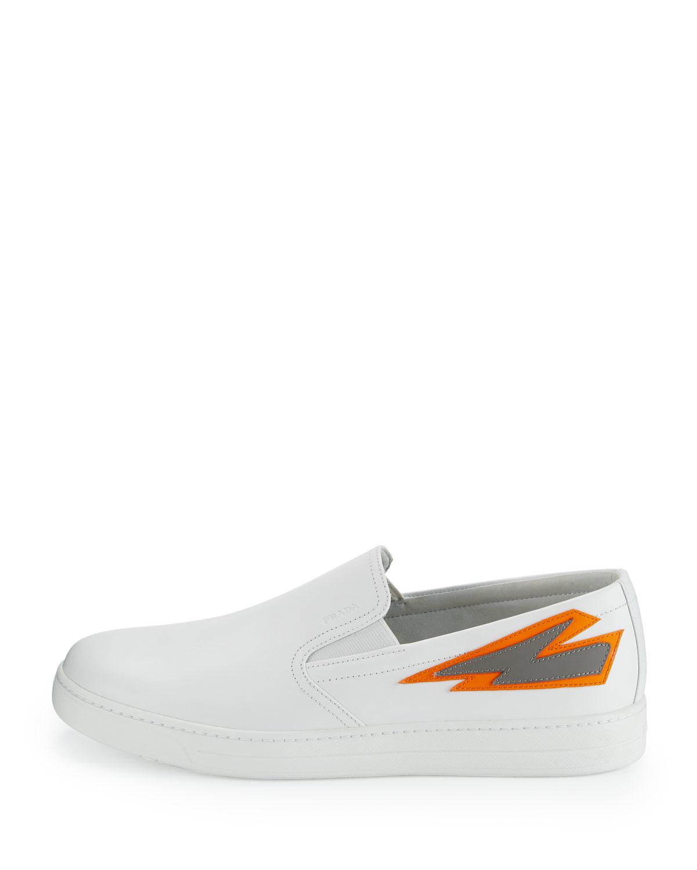 prada womens wallets - Prada Lightning-Bolt Leather Slip-Ons in White for Men | Lyst