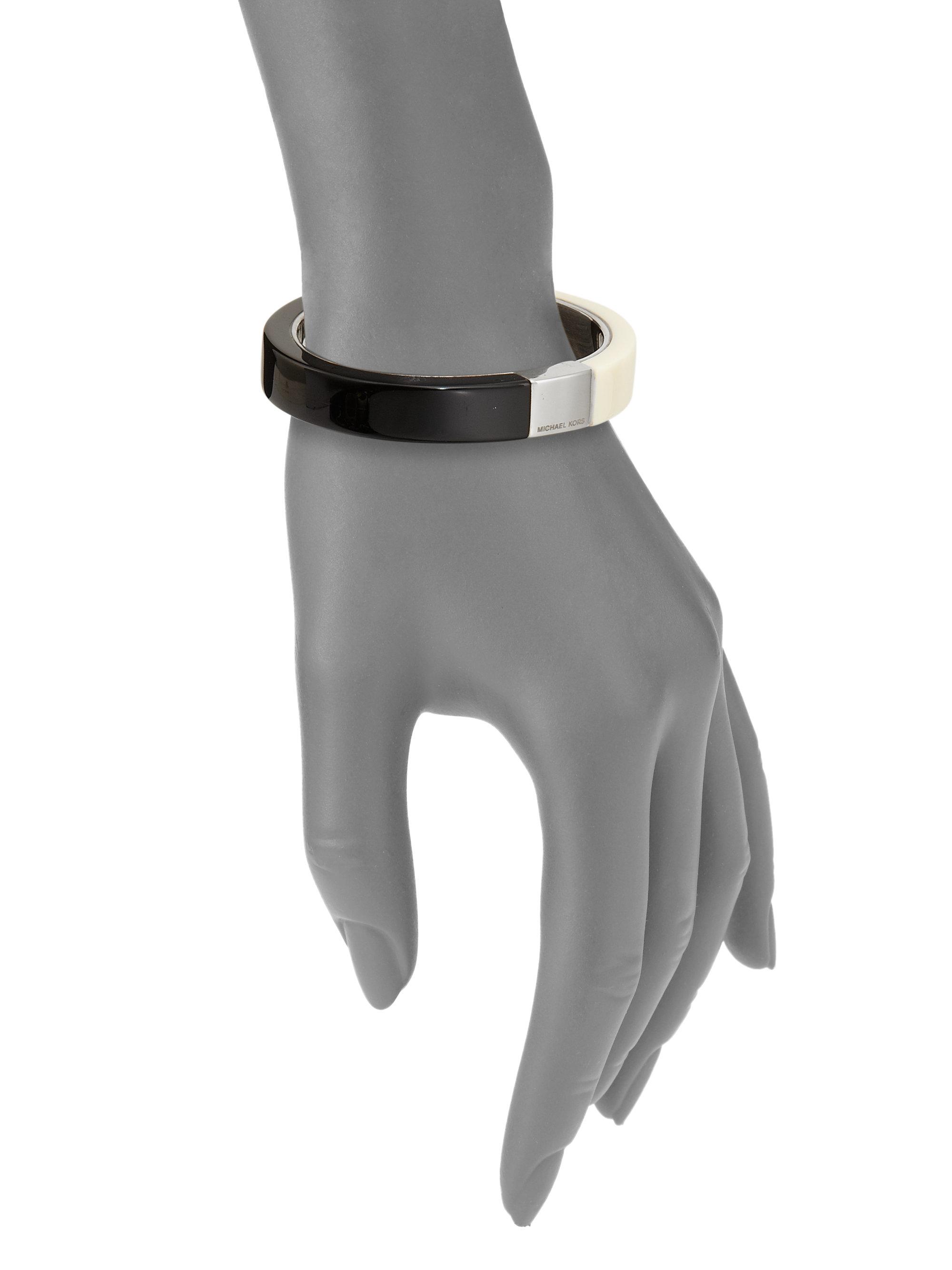 Lyst - Michael Kors Colorblock Bangle Bracelet in Black