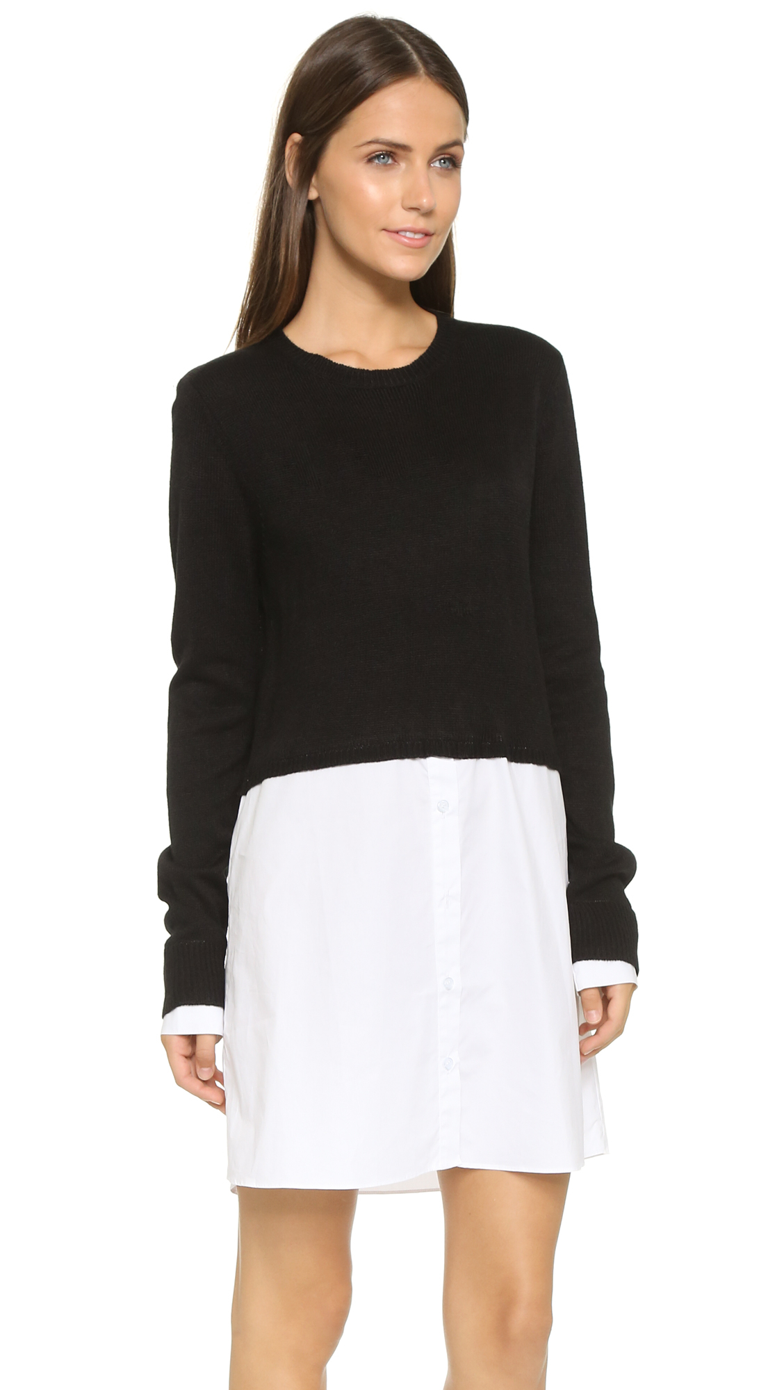 Re named sweater layer shirt dress in black lyst for Black sweater white shirt