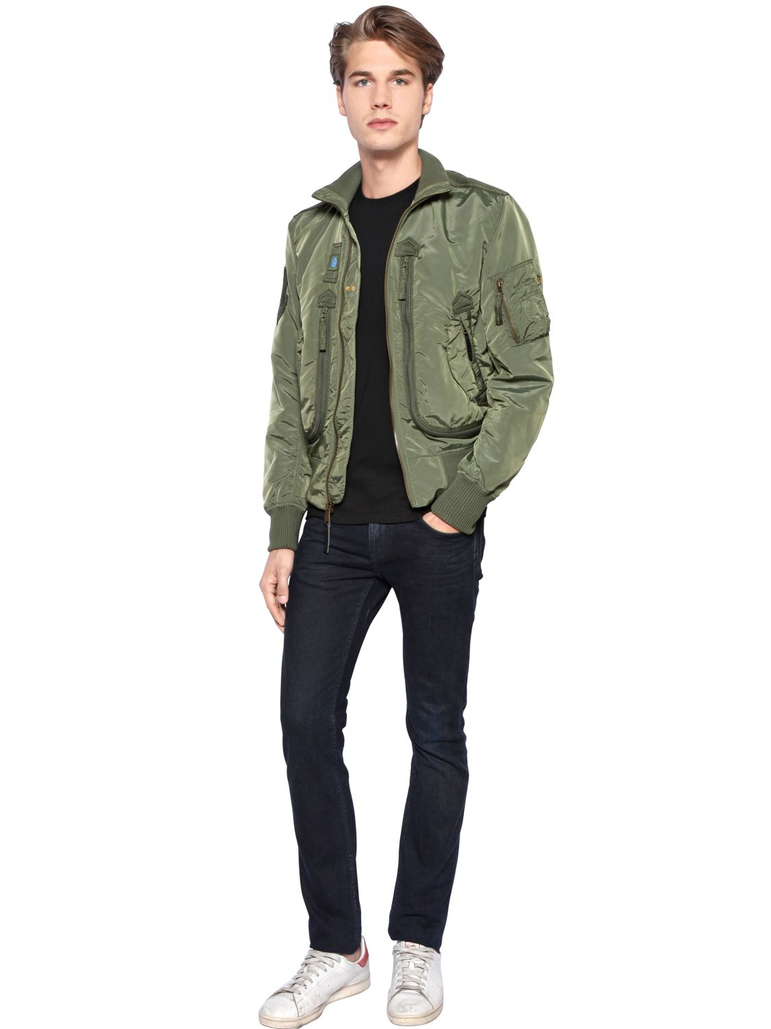 Alpha Industries Prop Patches Nylon Bomber Jacket In Green