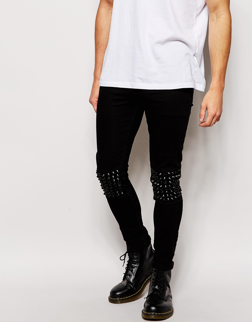 Asos Super Skinny Jeans With Studded Knee Panels in Black for Men ...