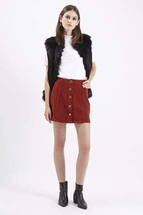 Topshop Cord Button Front A-line Skirt in Red | Lyst