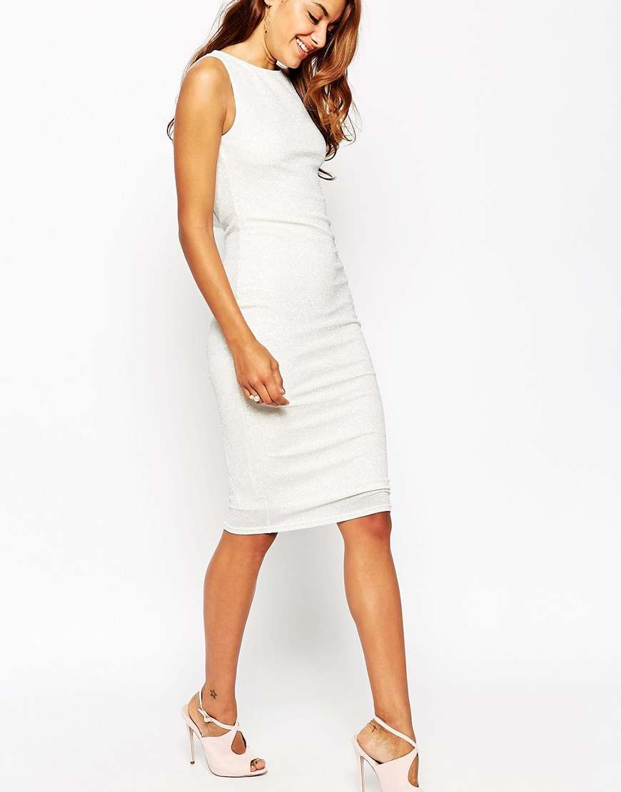 Cowl back dress white.