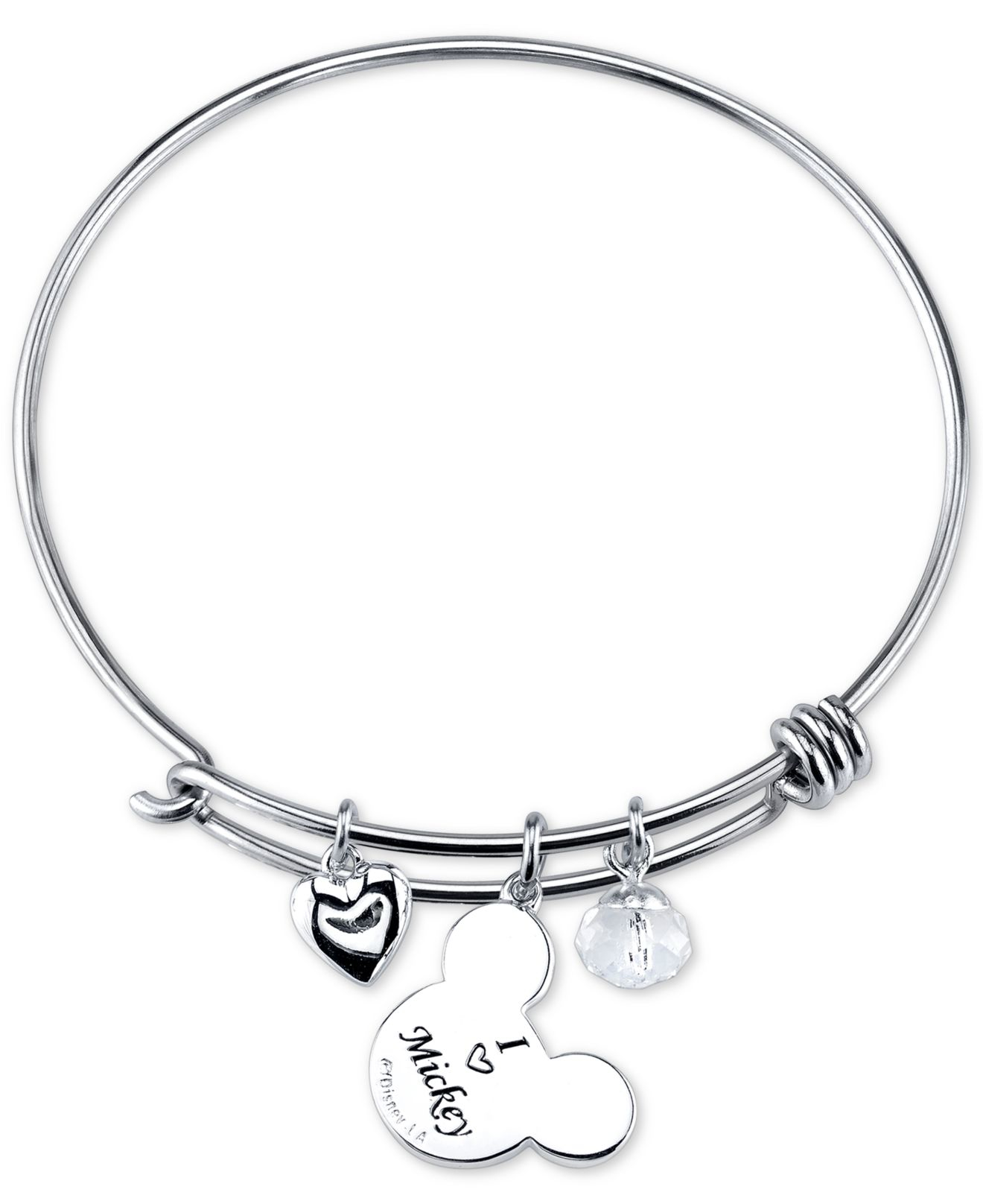Lyst - Disney Mickey Mouse Crystal Charm Bracelet In Stainless Steel ...