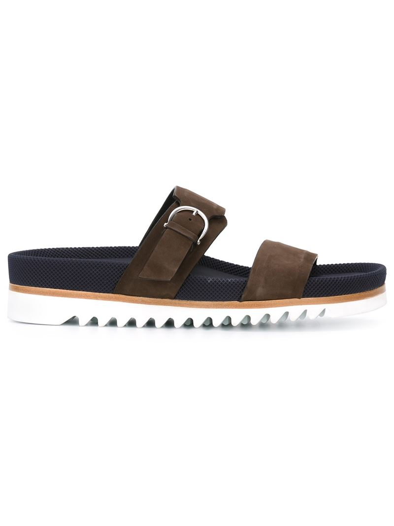 Ferragamo Gancio Buckle Sliders In Brown For Men Lyst