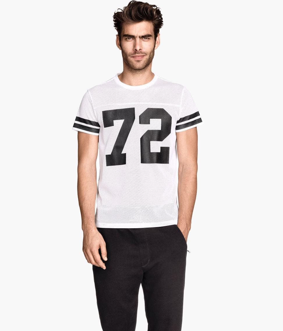 Lyst H M Mesh T Shirt In White For Men