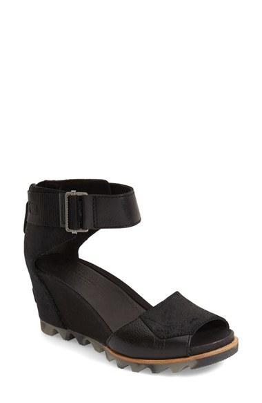Sorel Joanie Wedge Sandal In Black Lyst