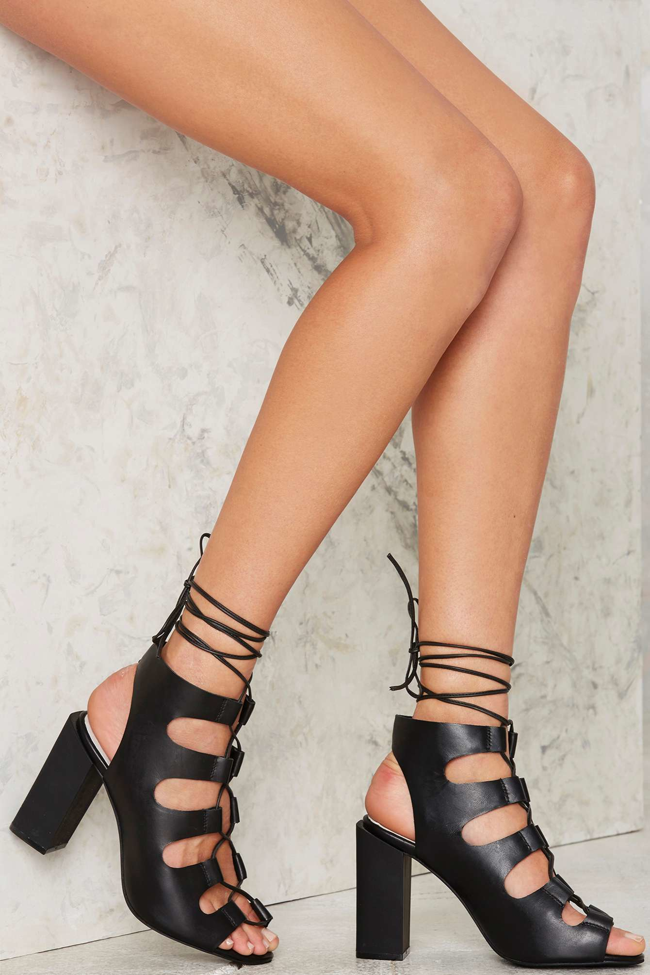 Lyst Jeffrey Campbell Be My Leather Lace Up Heels In Black