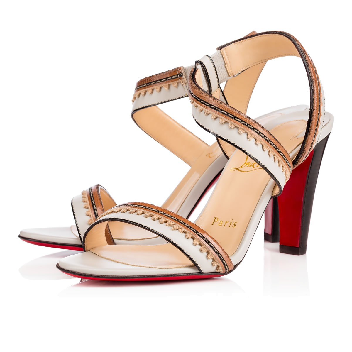 christian louboutin trepi leather 140mm red sole sandal