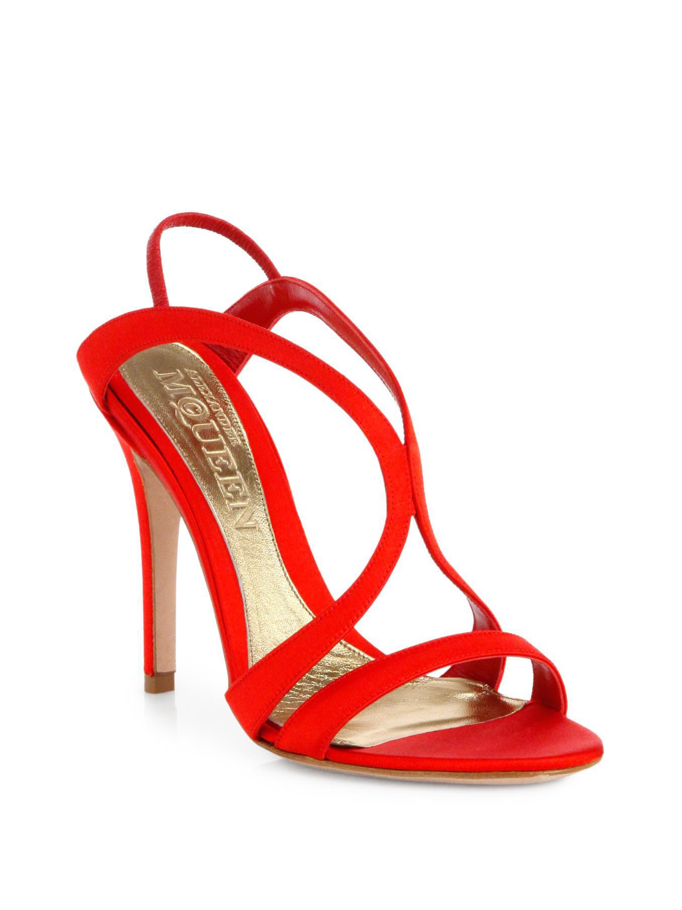 Alexander Mcqueen Satin Strappy Sandals In Red Lyst