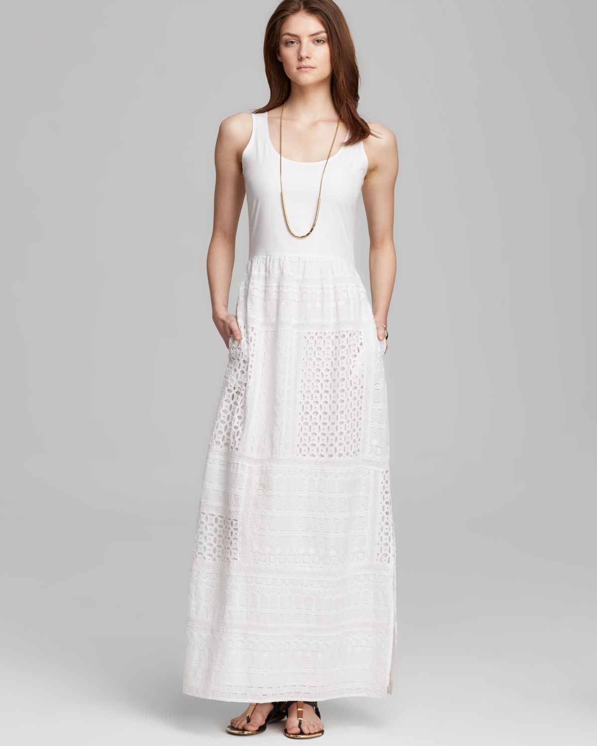 Cool  Two By Sleeveless Eyelet Cotton Dress In White Ultra White  Lyst
