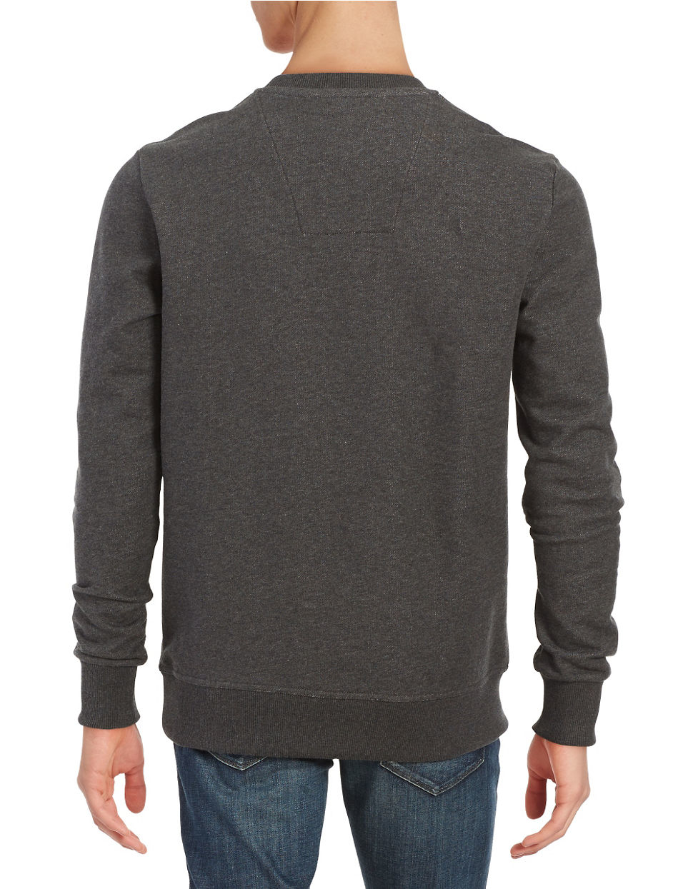 star raw logo pullover sweatshirt in gray for men lyst. Black Bedroom Furniture Sets. Home Design Ideas