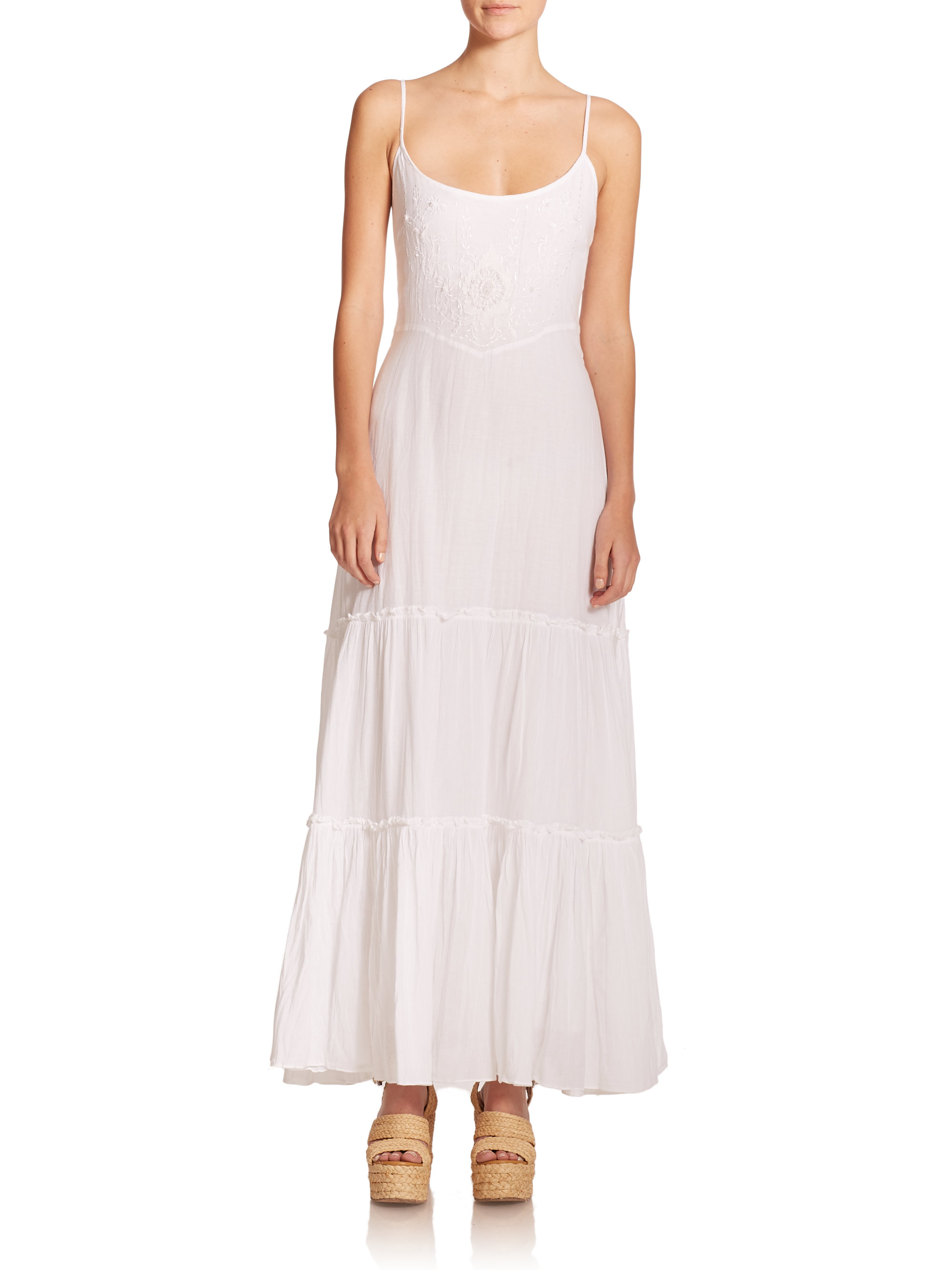 Polo Ralph Lauren Embroidered Amp Tiered Maxi Dress In White