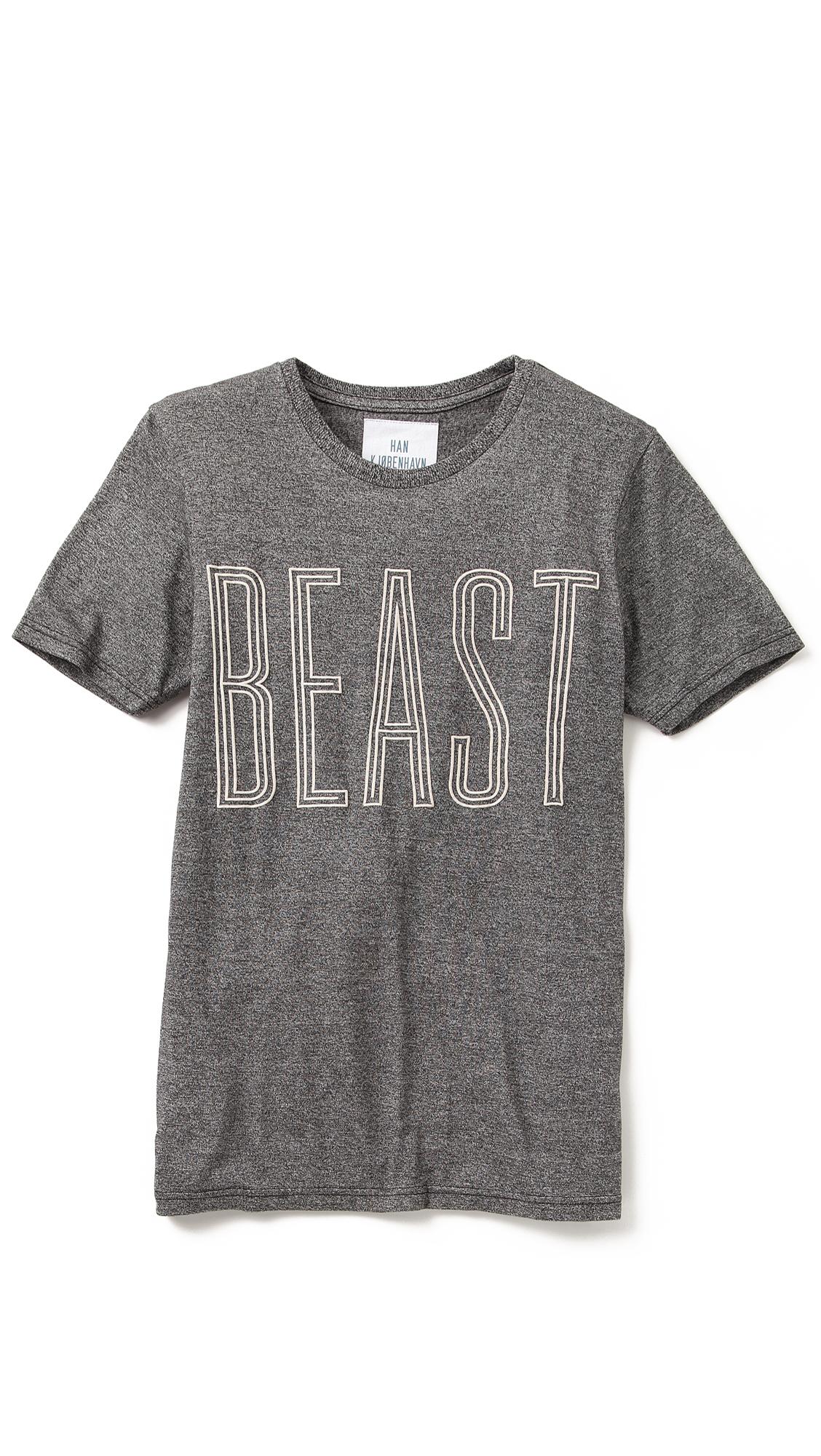 Lyst Han Kjobenhavn Beast T Shirt In Gray For Men