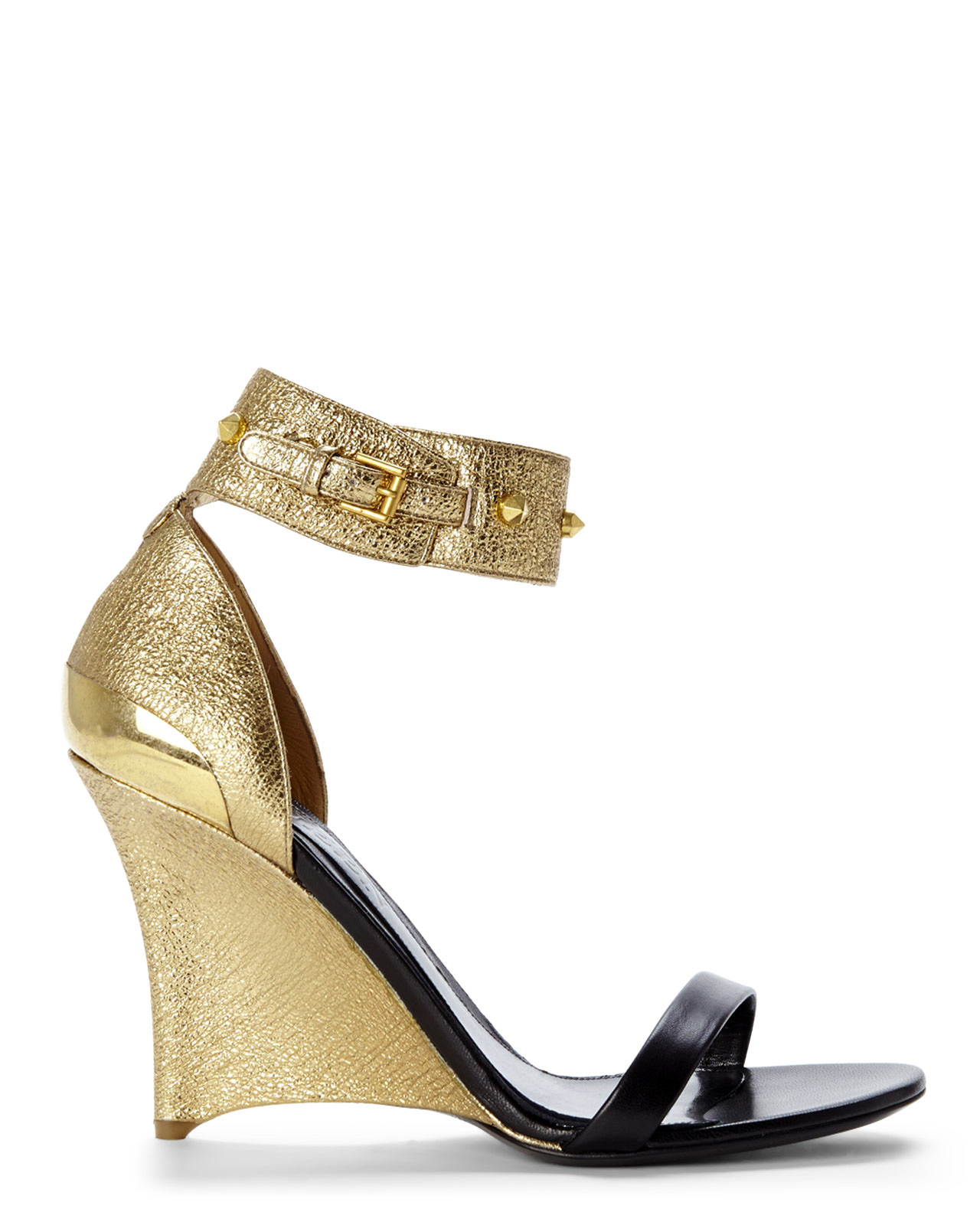 581a5381a68 Lyst - Alexander McQueen Black   Gold Wedge Sandals in Metallic
