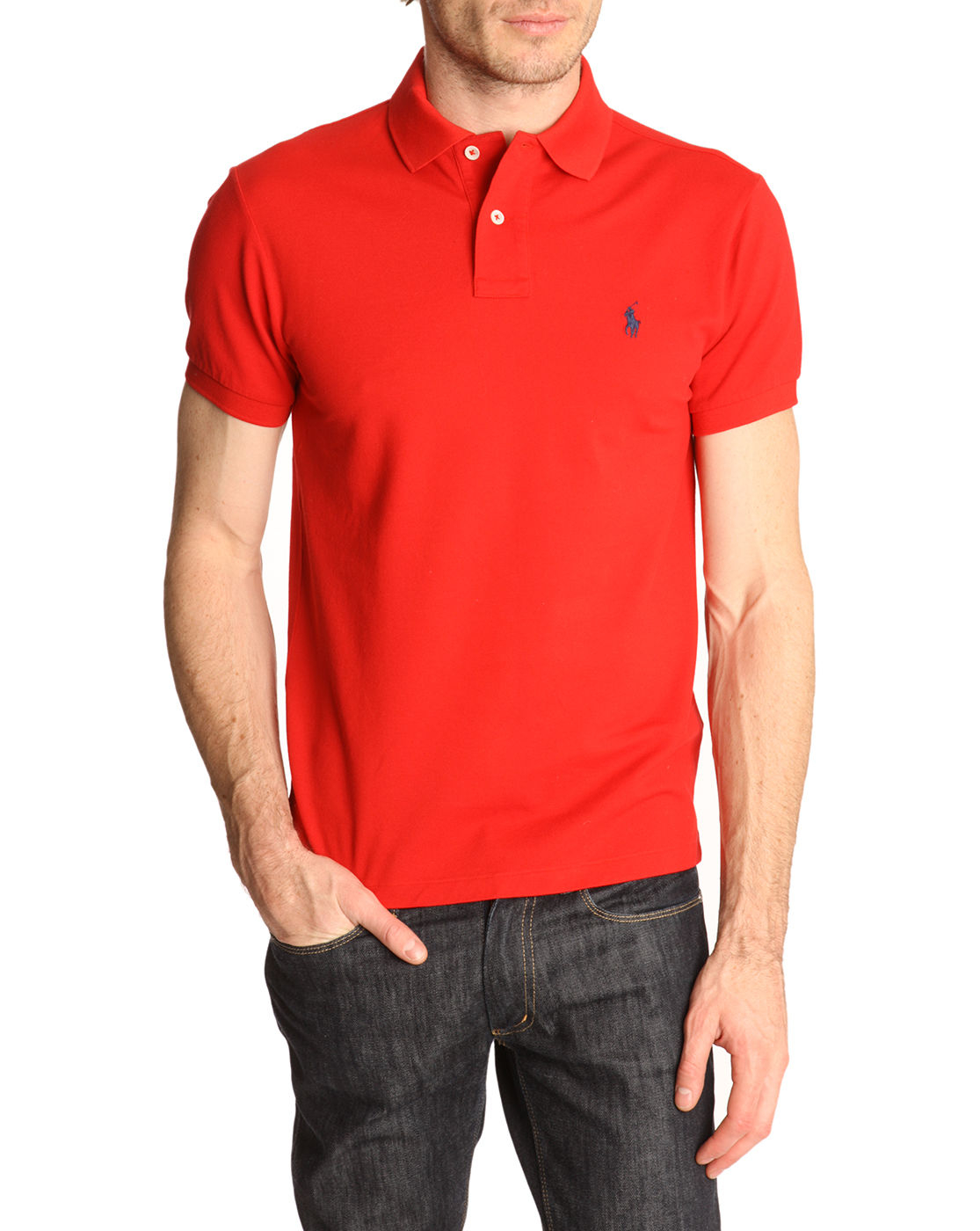 polo ralph lauren rl red slim fit stretch polo shirt in. Black Bedroom Furniture Sets. Home Design Ideas