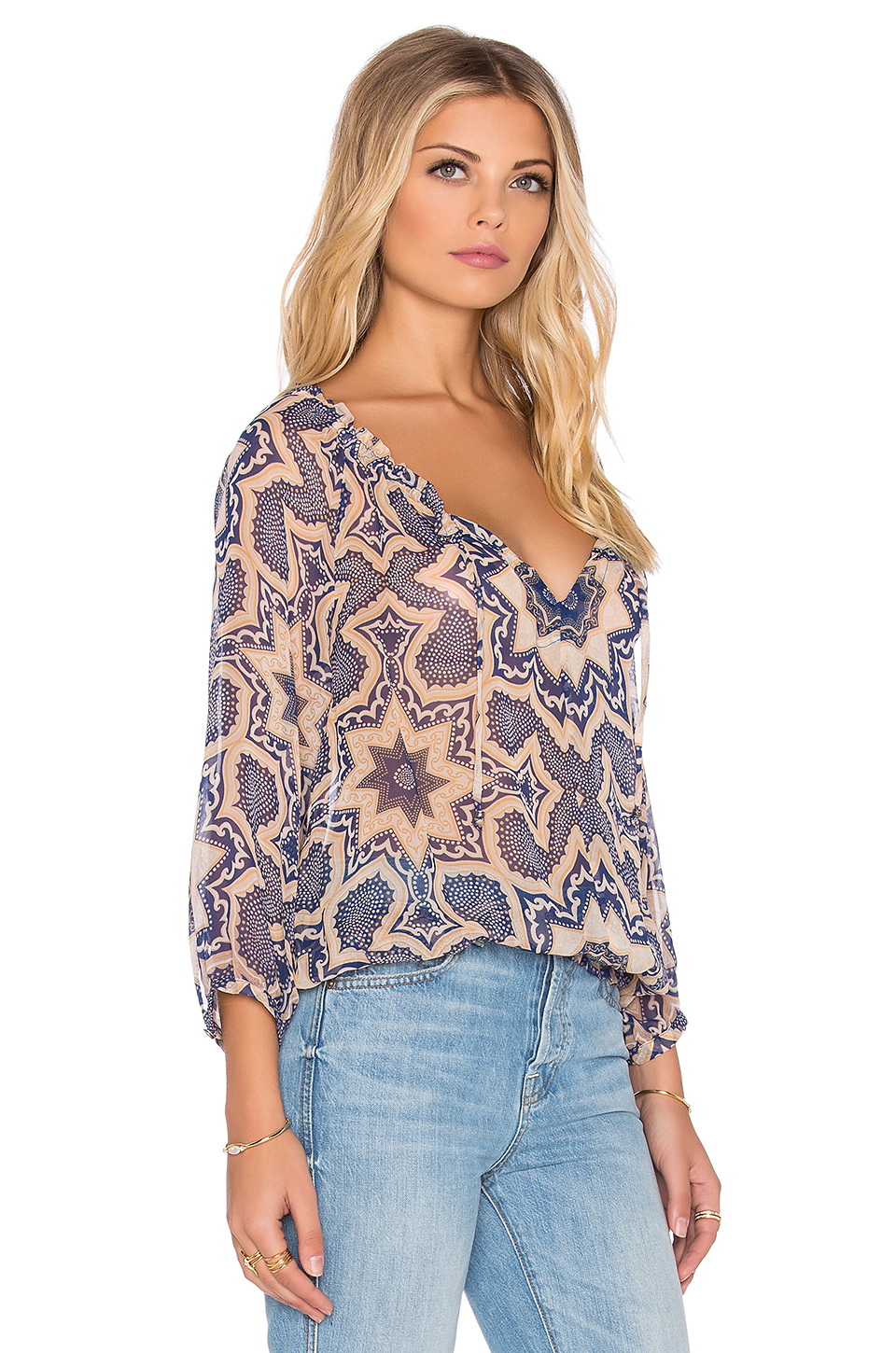 Women's Bell Sleeved Cut-Out Cold Shoulder Peasant Blouse