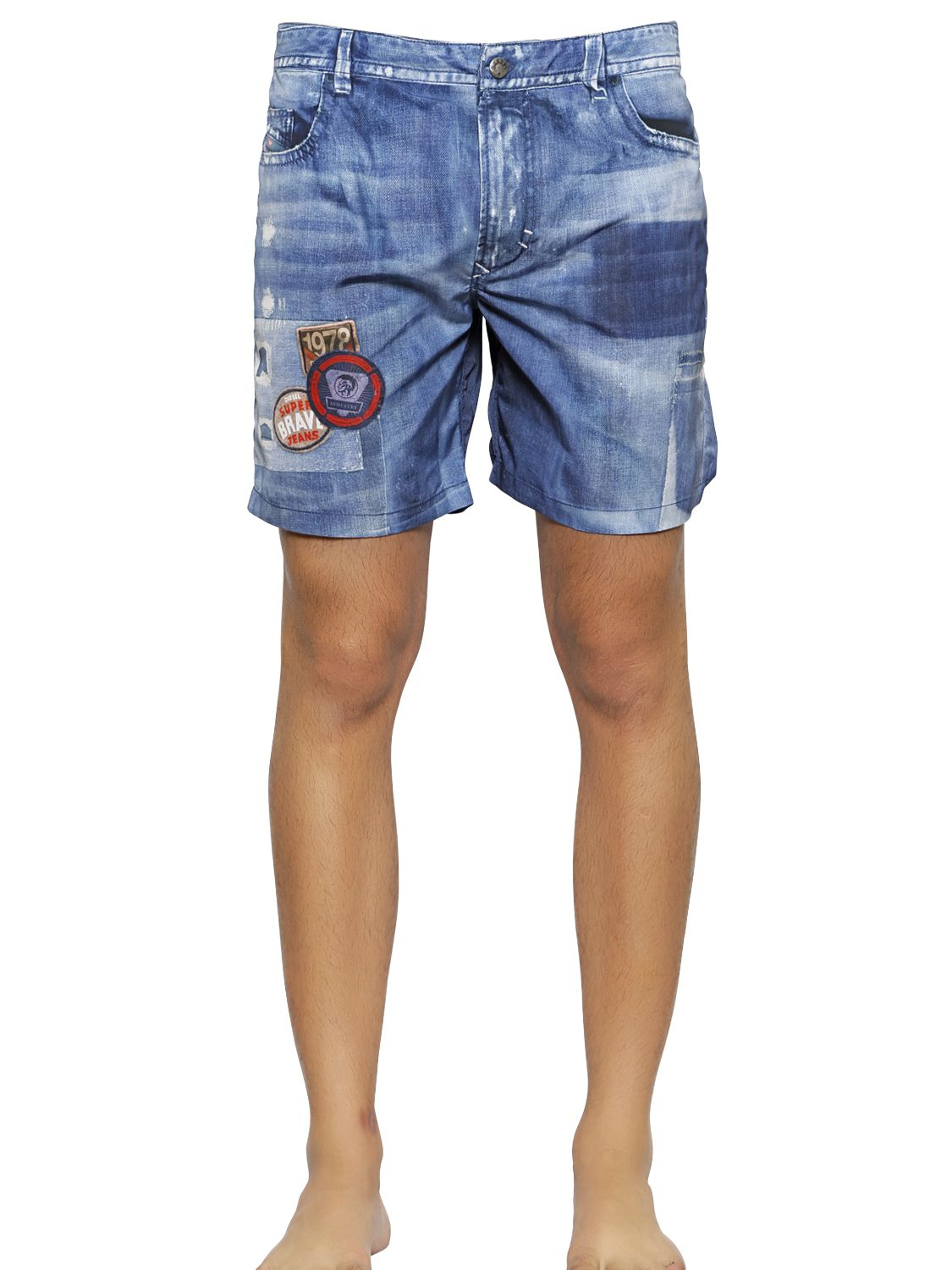 DIESEL Denim Printed Nylon Swimming Shorts in Blue for Men - Lyst 942413005daea