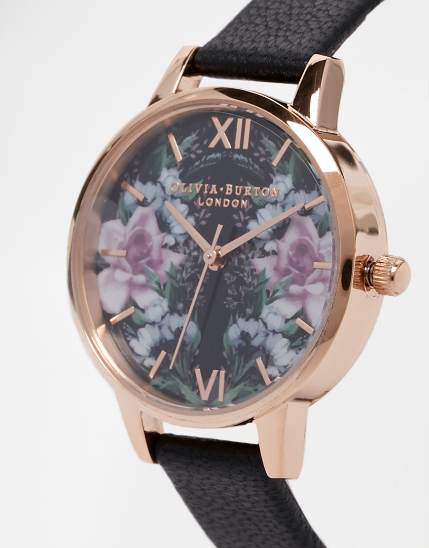 Lyst olivia burton winter florals mirror floral midi dial watch in black for Winter watches