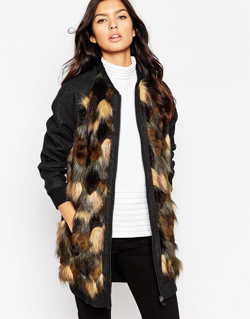 Urbancode Longline Bomber Jacket With Camo Faux Fur Front | Lyst