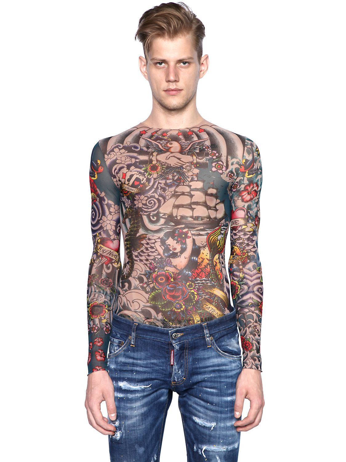 lyst dsquared tattoo printed sheer long sleeve t shirt