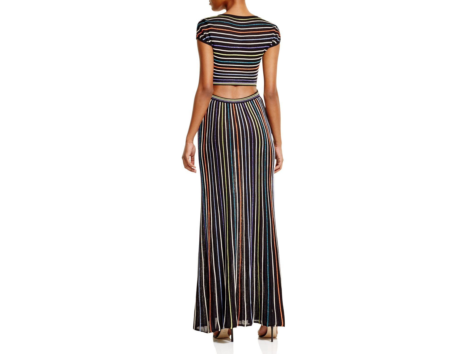 6b6e9fa40d11 Lyst - M Missoni Metallic Micro Stripe Maxi Dress in Black