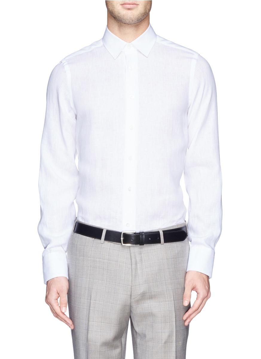 Canali linen broadcloth shirt in white for men lyst for White linen dress shirt