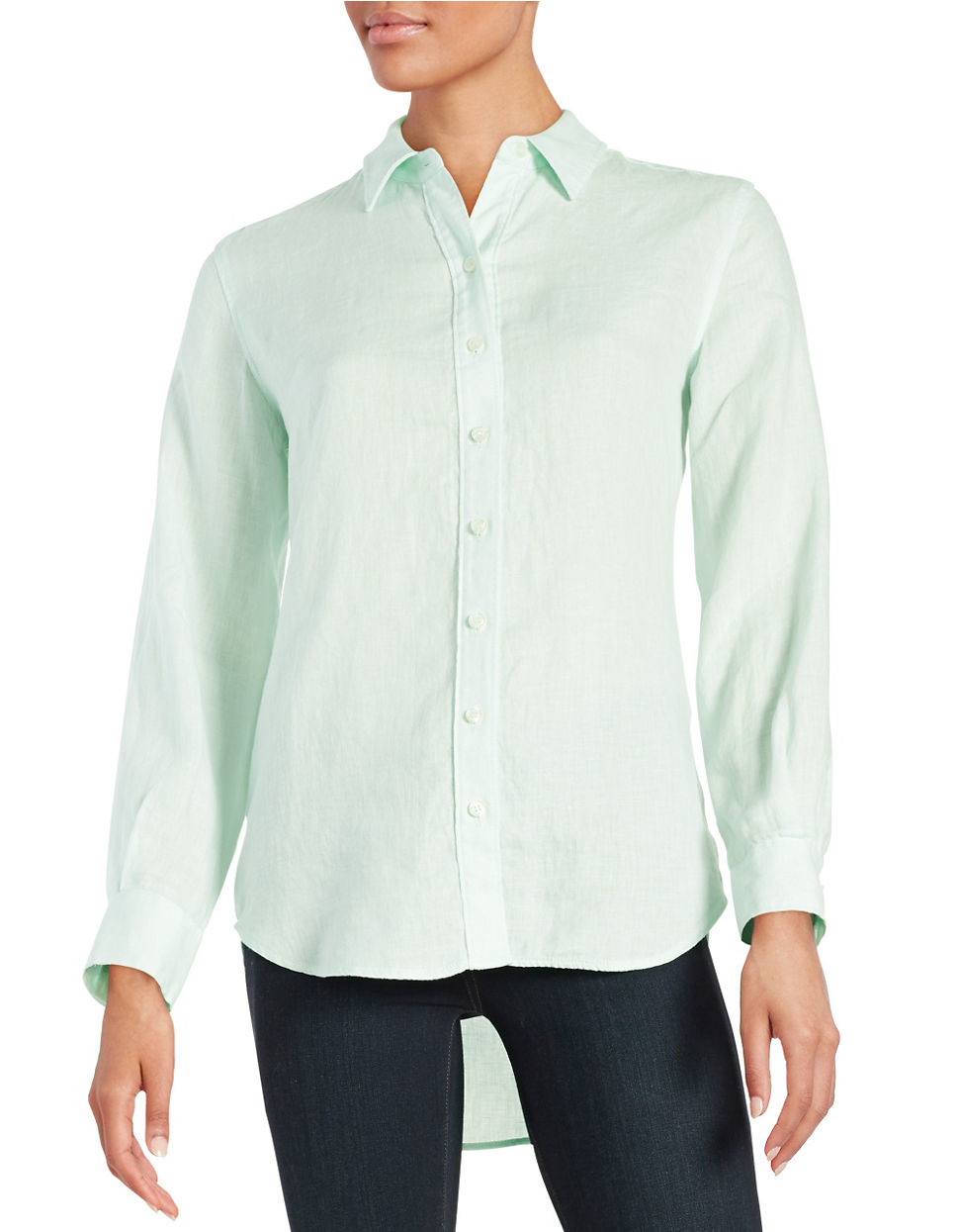Lord Taylor Linen Hi Low Casual Shirt In Green Save 24
