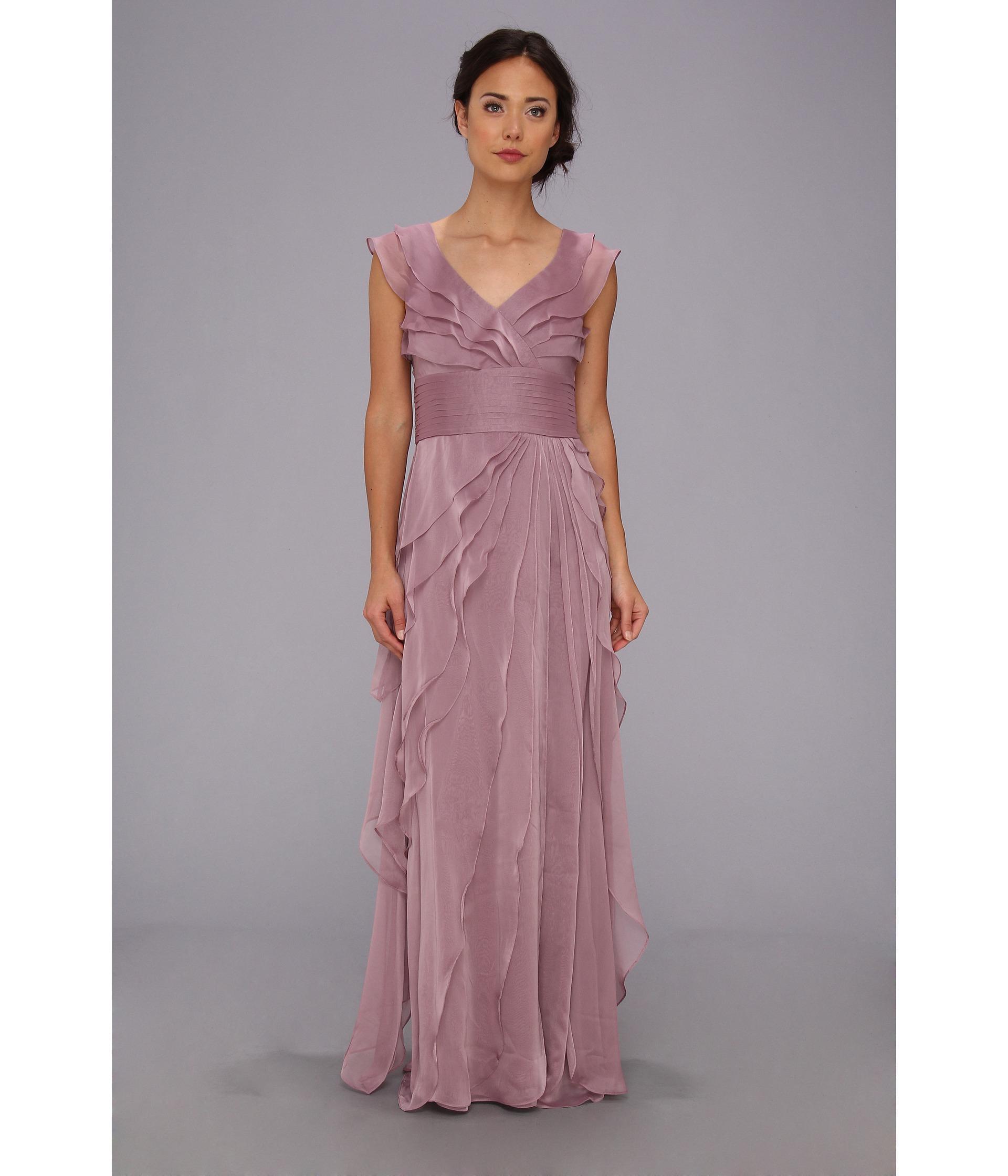 Lyst - Adrianna Papell Long Irri Tiered Petal Dress in Purple