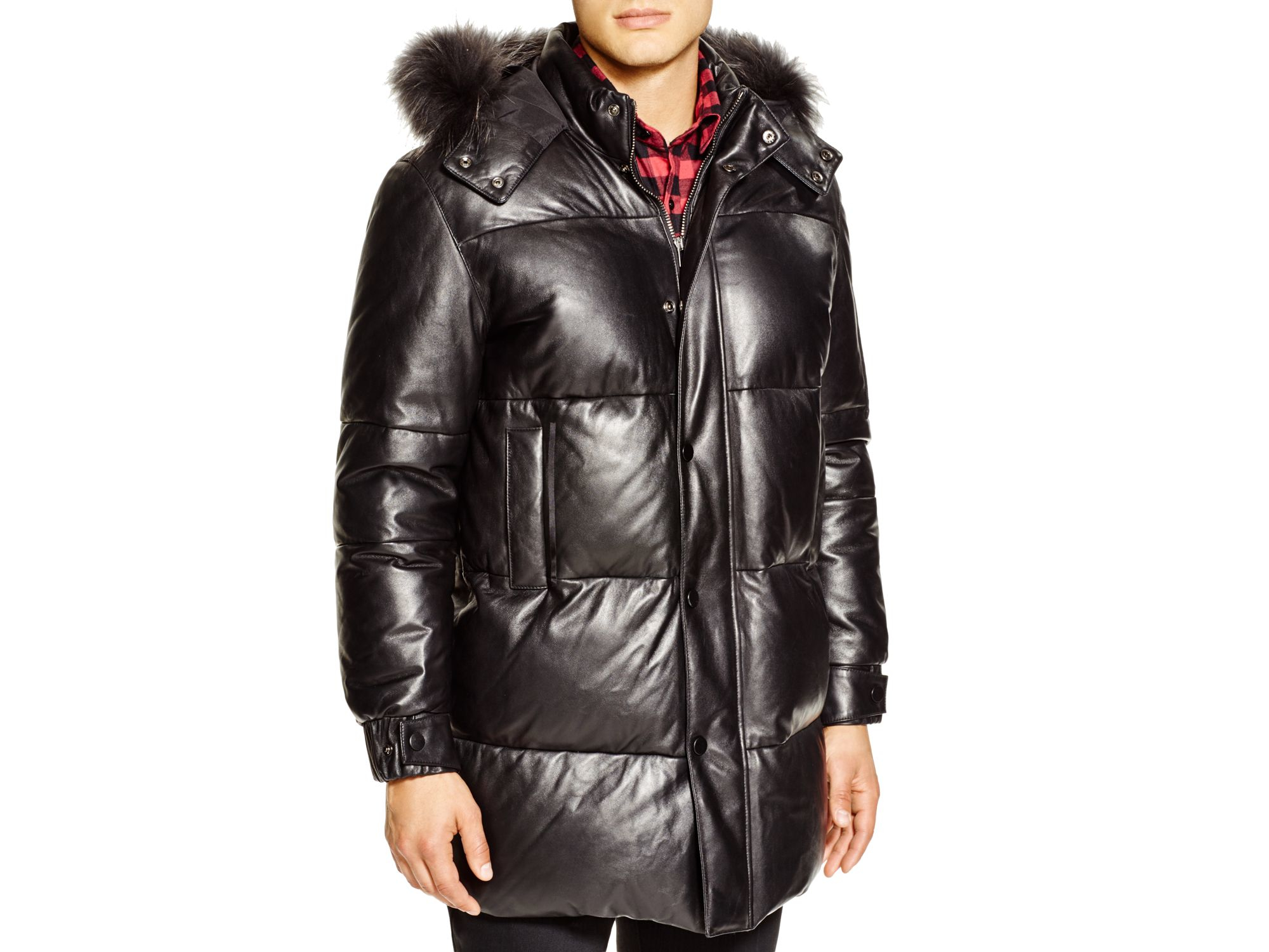 Ovadia and sons Leather Fur Trim Down Coat in Black for Men | Lyst