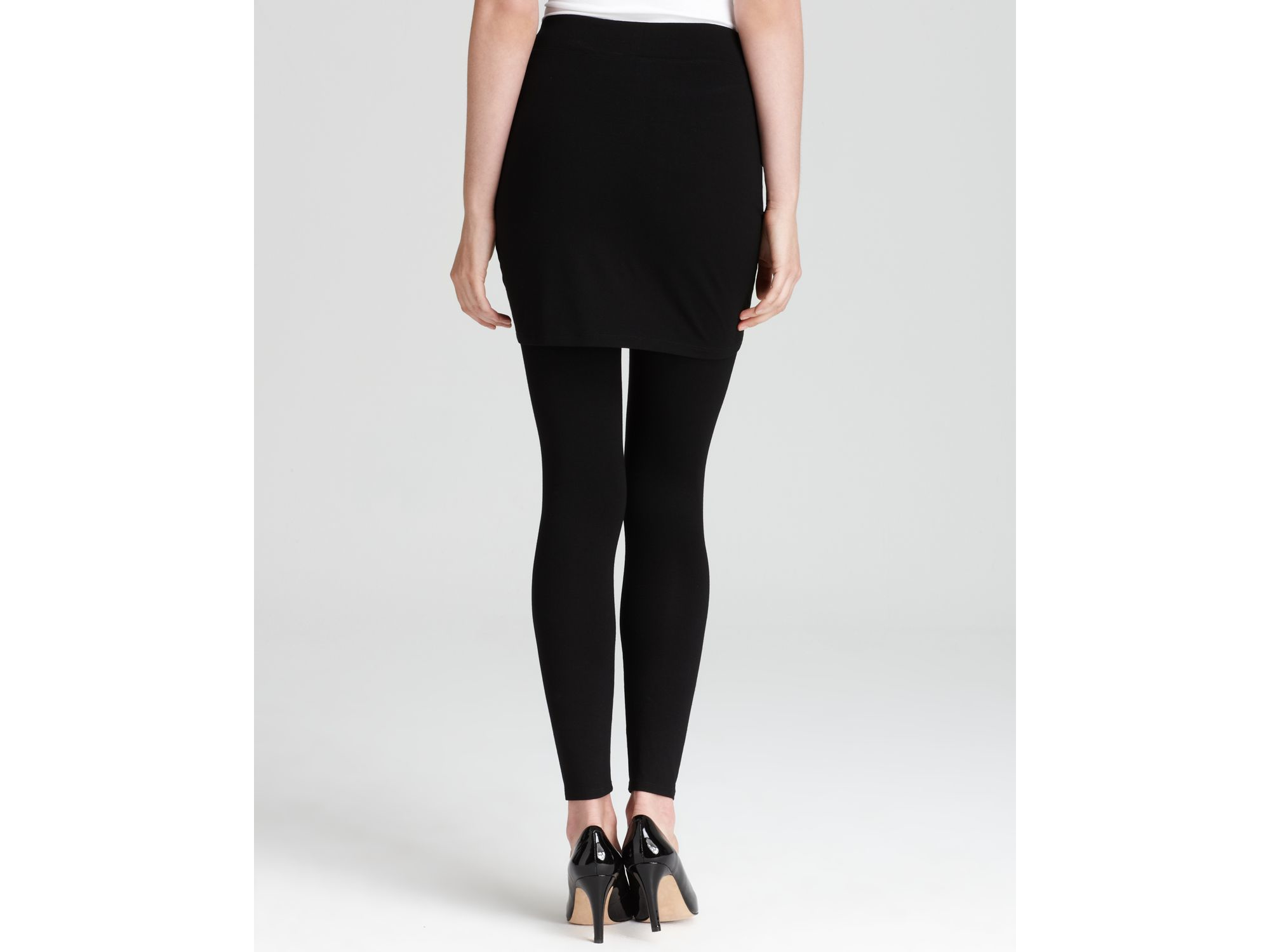 0e52f55e6a30a2 Eileen Fisher Viscose Jersey Skirted Ankle Leggings in Black - Lyst