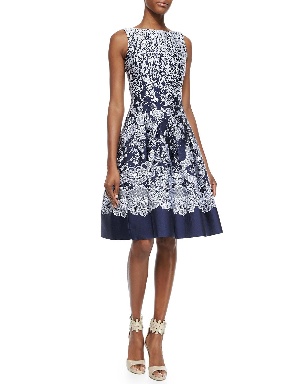 fb6c0fbd08 Lyst - Oscar de la Renta Brocade A-Line Dress in Blue