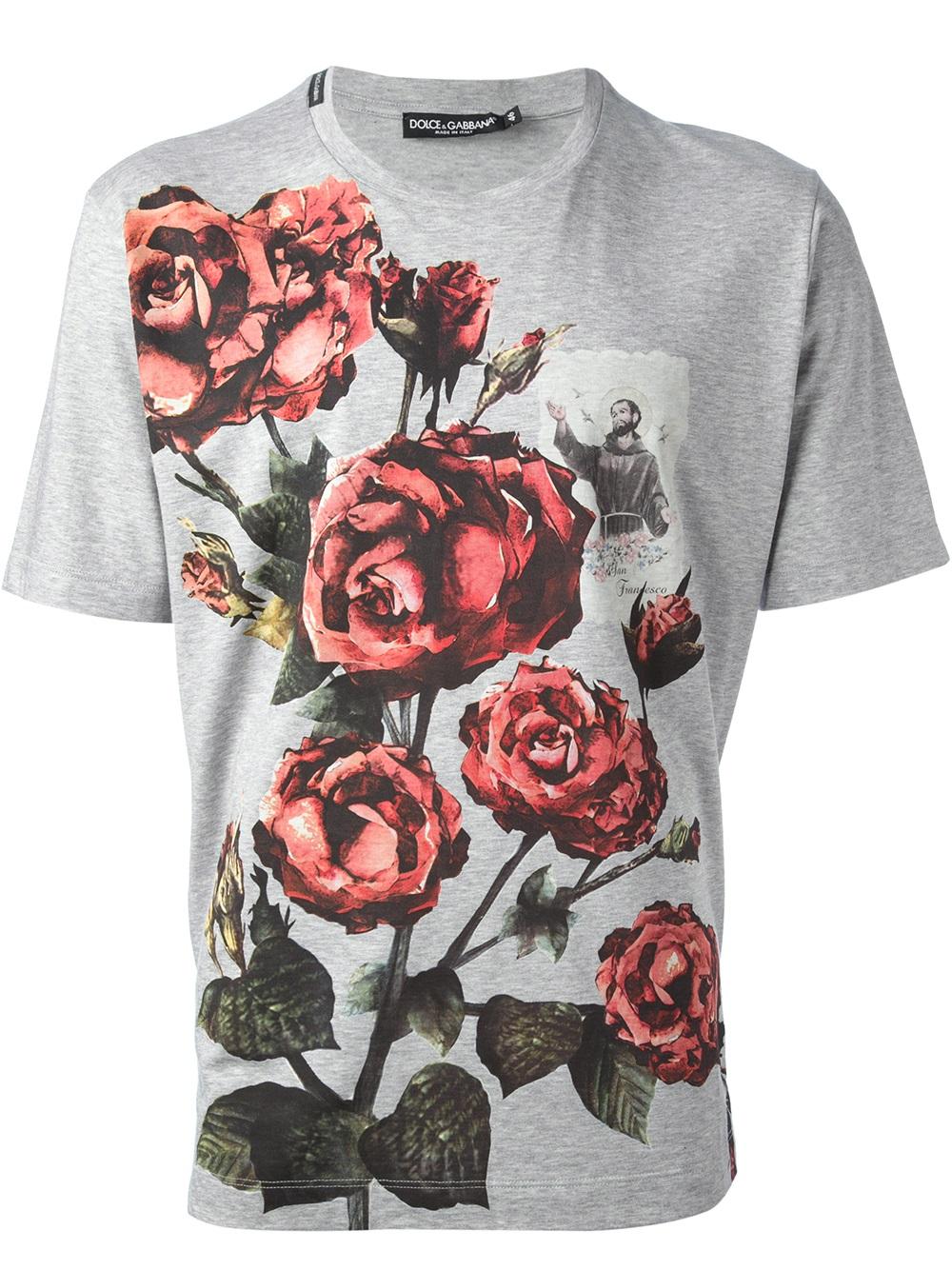 dolce gabbana rose t shirt in floral for men grey lyst. Black Bedroom Furniture Sets. Home Design Ideas