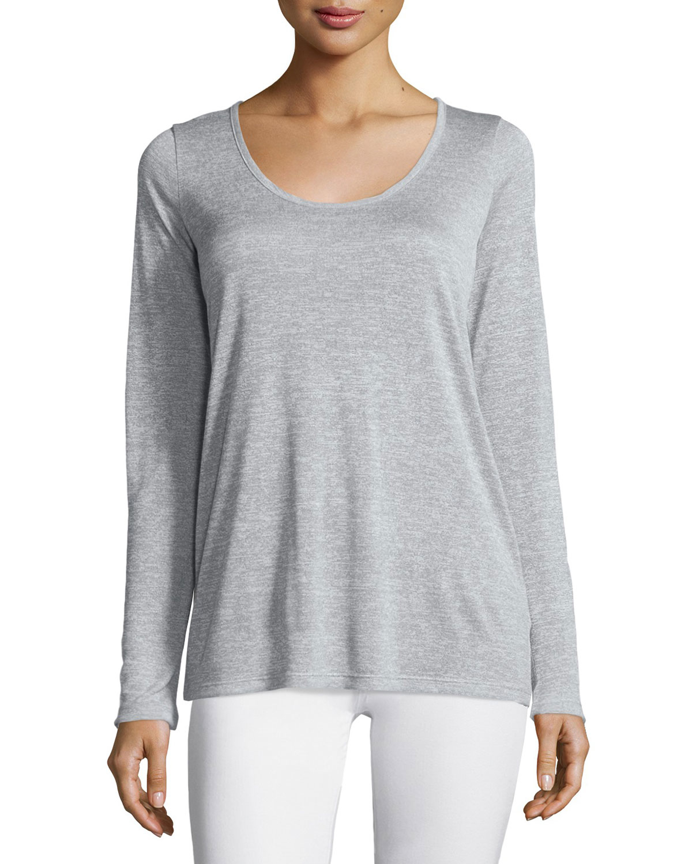 Vince long sleeve scoop neck tee in gray lyst for Long sleeve scoop neck shirt
