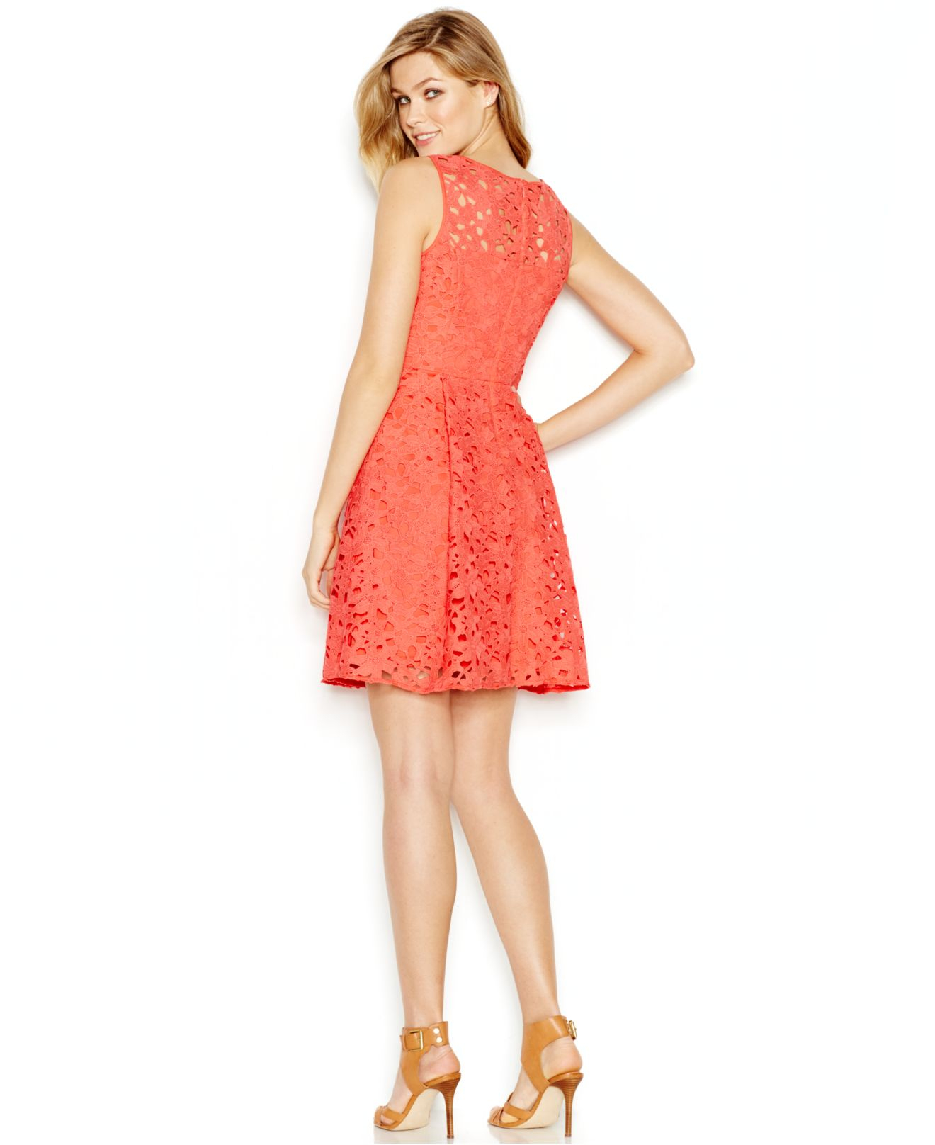 Lyst Jessica Simpson Lace A Line Dress In Pink