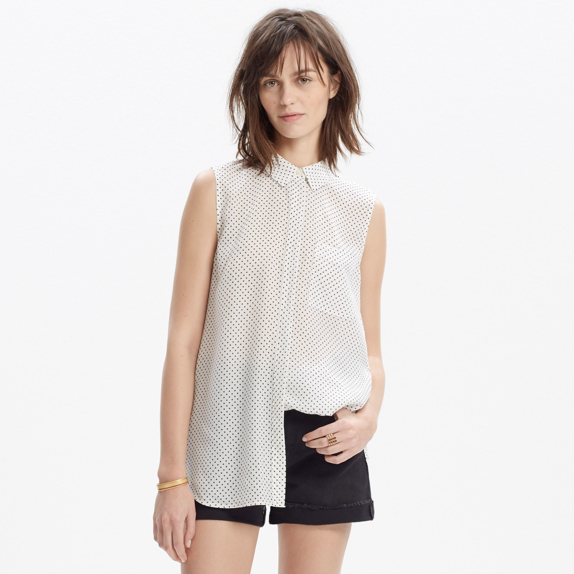 50f59a8589050 Lyst - Madewell Silk Sleeveless Composer Shirt In Star Print in White