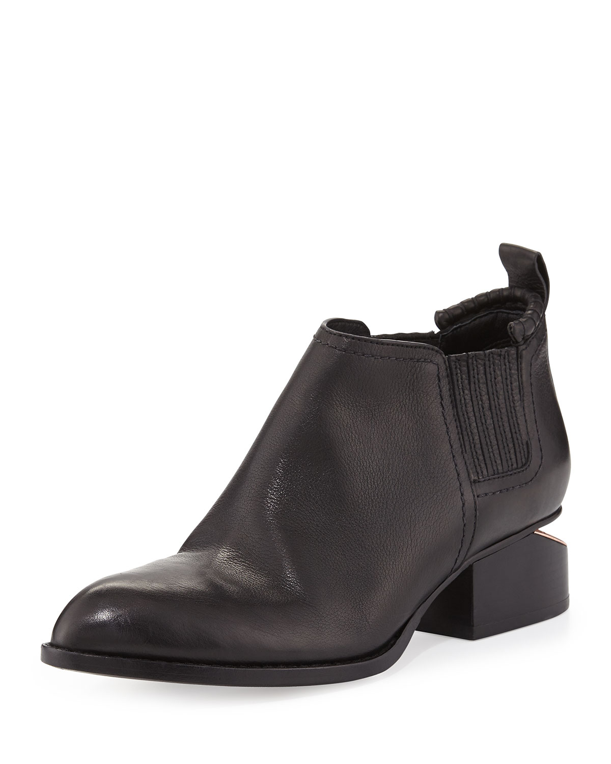 wang kori leather lift heel ankle boot in black