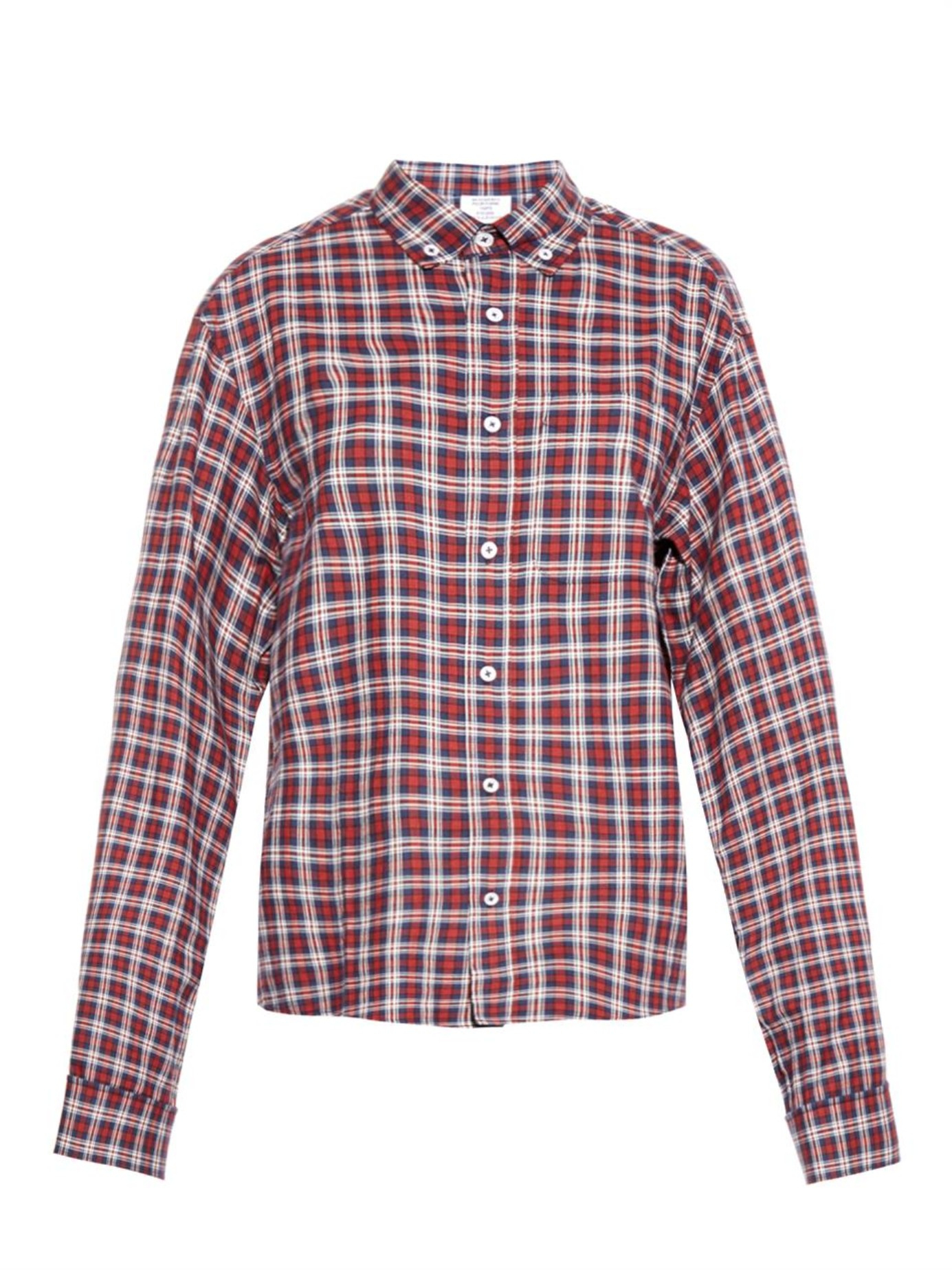Lyst Vetements Oversized Plaid Cotton Shirt In Red