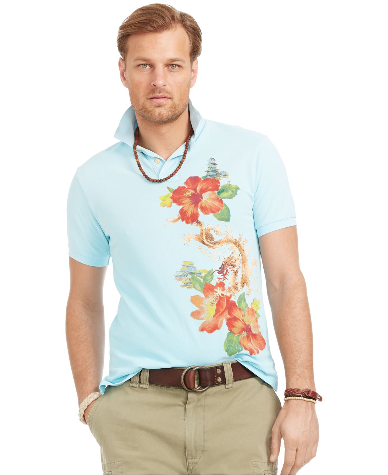 Polo ralph lauren big and tall custom fit tropical print for Big and tall custom polo shirts