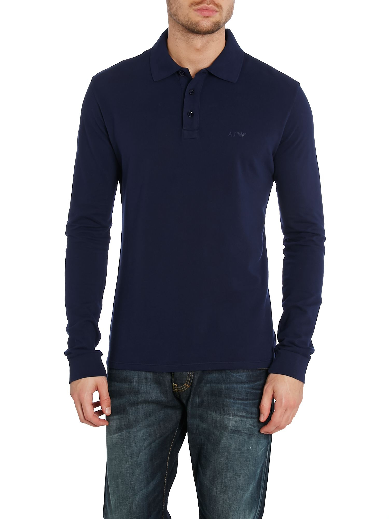 ad7c33dfb621 Armani Jeans Mercerised Long Sleeve Polo Shirt